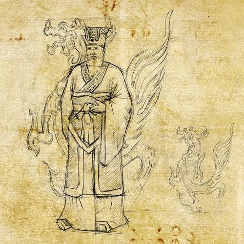 古代壁画手绘图